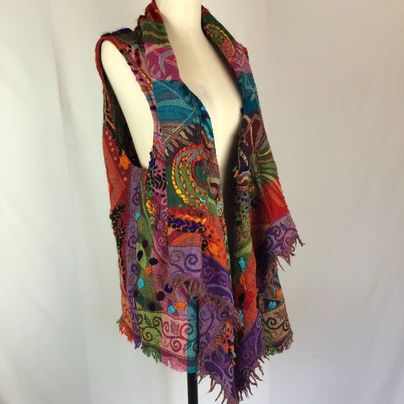 Anu Corinth Embroidered Wool Boho Vest